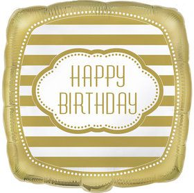 Gold and White Birthday Foil Balloon