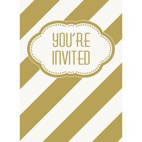 Gold and White Birthday Invitations (8)