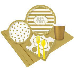 Gold and White Birthday Party Pack  sc 1 st  Birthday in a Box & Solid Colored Paper and Plastic Plates from Birthday in a box