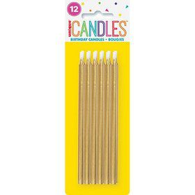 "Gold Birthday Candles 5"" 12ct"