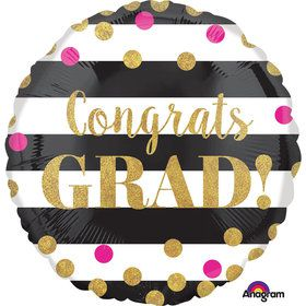 "Gold Confetti Grad 18"" Balloon (Each)"