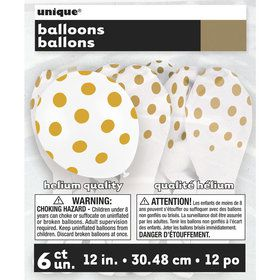 "Gold Dots 12"" Latex Balloon (6 Pack)"