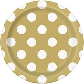 "Gold Dots 7"" Plates (8 Pack)"