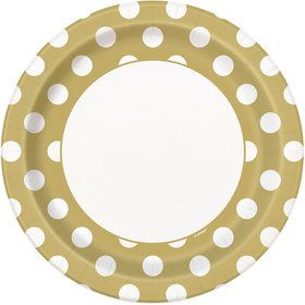 "Gold Dots 9"" Plates (8 Pack)"