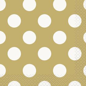 Gold Dots Beverage Napkins (16 Pack)