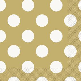 Gold Dots Lunch Napkins (16 Pack)