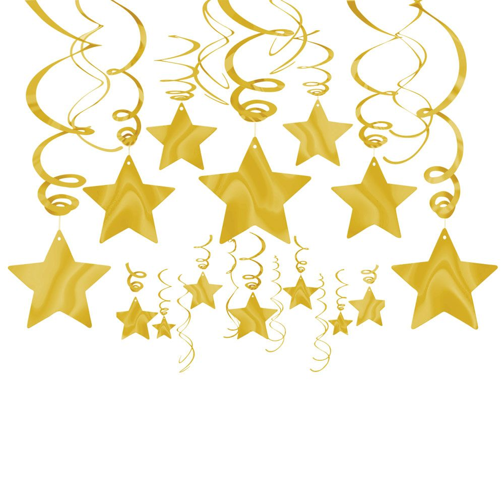 Gold Foil Star Hanging Decorations (Each) - Party Supplies BB67447419