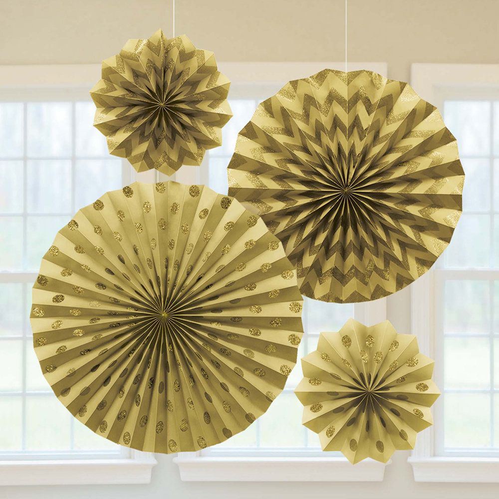Gold Glitter Paper Fan Decorations | Yellow / Gold Decorations ...