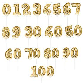Gold Number 30 Self-Inflating Balloon Cake Topper