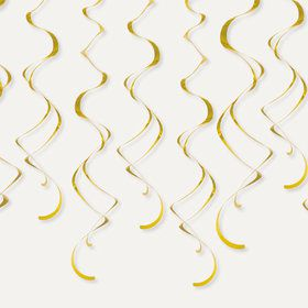 Gold Plastic Swirl Decorations