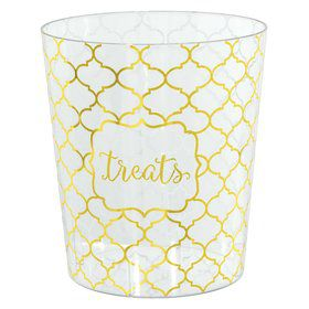 Gold Quatrefoil Medium Cylinder Container