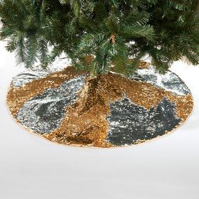 Gold Silver Reversible Sequin Tree Skirt