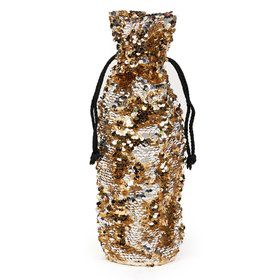 Gold Silver Reversible Sequin Wine Bag
