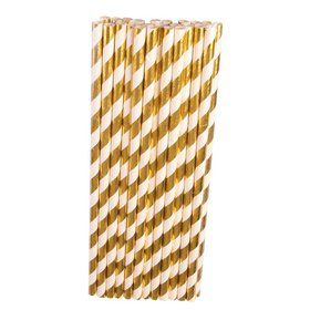 Gold & White Paper Straws