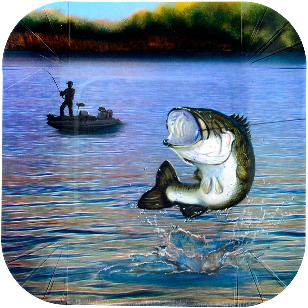 "Gone Fishin' 7"" Plates-Square (8 Pack) BB86862"