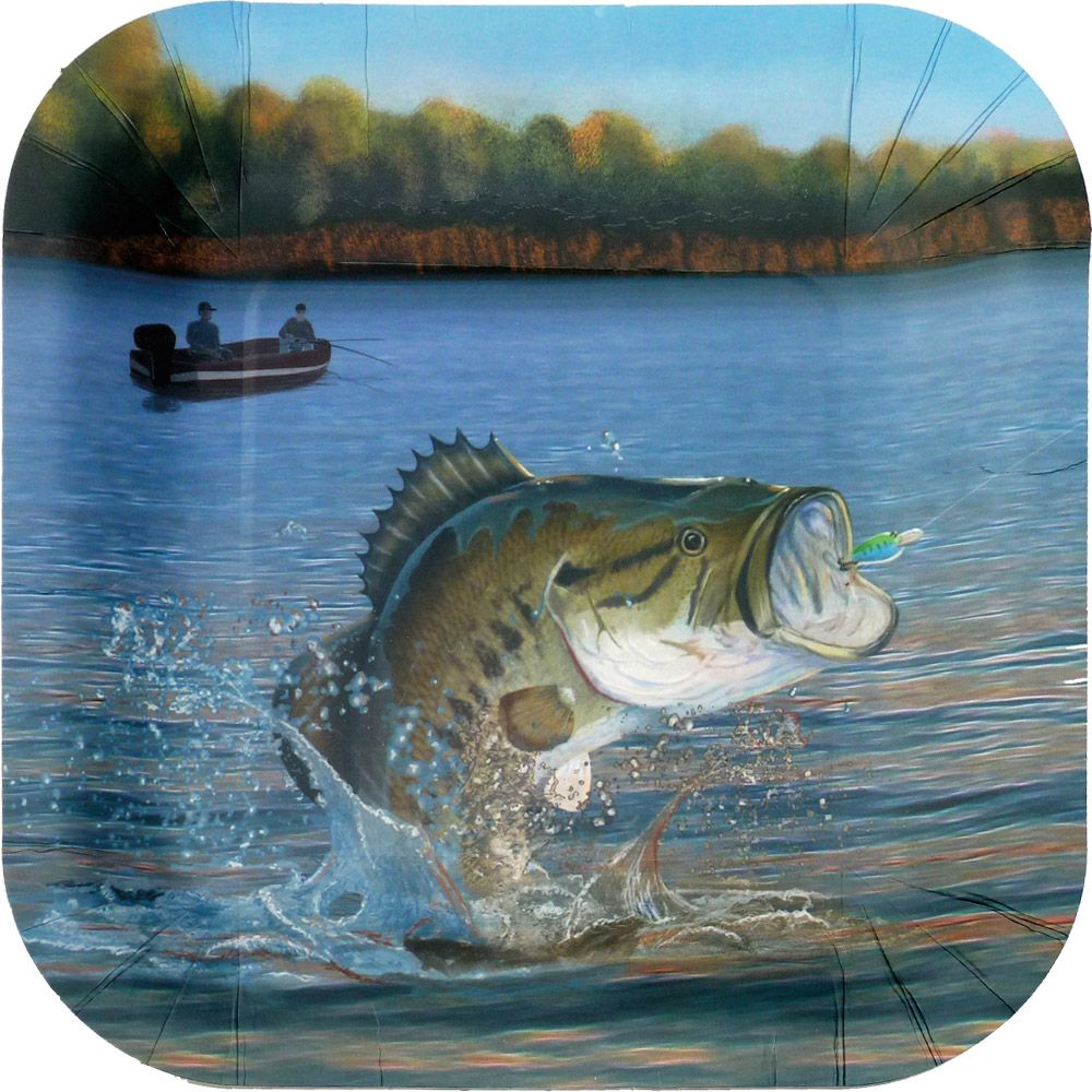 "Gone Fishin' 9"" Plates-Square (8 Pack) BB86861"