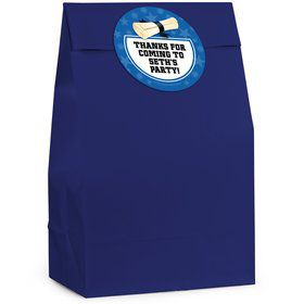 Grad Blue Personalized Favor Bag (12 Pack)