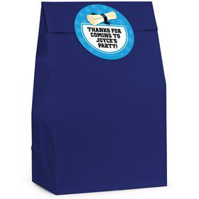 Grad Bright Blue Personalized Favor Bag (12 Pack)