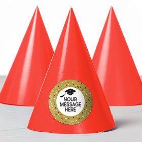 Grad Hats Off Personalized Party Hats (8 Count)