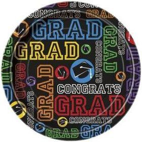 "Grad Party 7"" Cake Plates (8 Pack)"