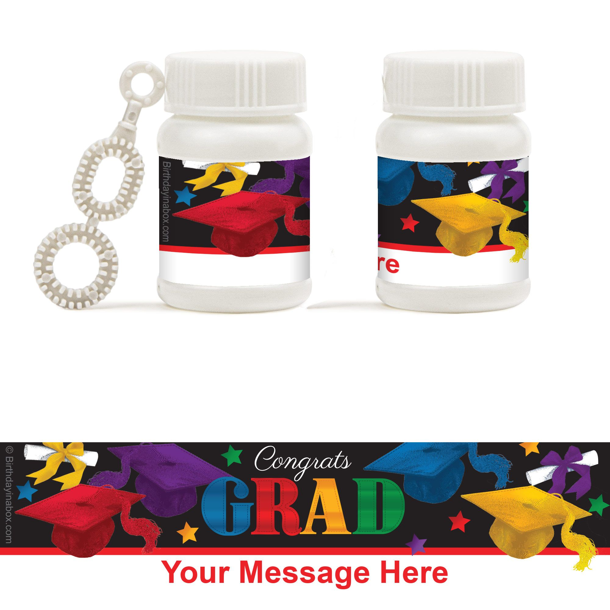 Grad Spirit Personalized Bubbles (18 Pack) - Party Supplies BB1457BB