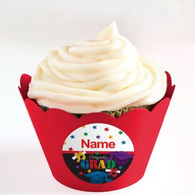 Grad Spirit Personalized Cupcake Wrappers (Set of 24)