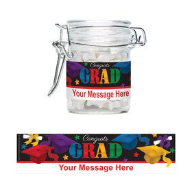 Grad Spirit Personalized Glass Apothecary Jars (12 Count)