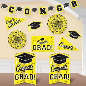 Graduation 10 Piece Room Decorating Kit Yellow