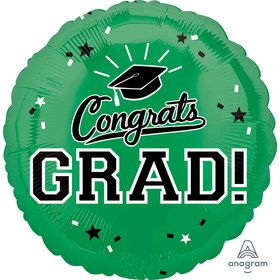 "Graduation 18"" Foil Balloon Green (1)"