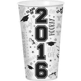 Graduation 32oz White Plastic Cup (Each)