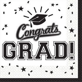 Graduation Beverage Napkins White (36 Count)