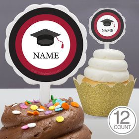 Graduation Day Burgundy Personalized Cupcake Picks (12 Count)