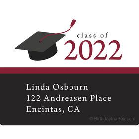 Graduation Day Burgundy Personalized Rectangular Stickers (Sheet of 15)