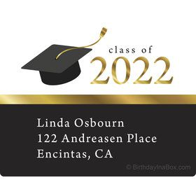 Graduation Day Gold Personalized Rectangular Stickers (Sheet of 15)