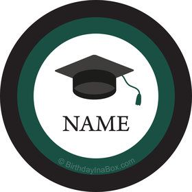Graduation Day Green Personalized Mini Stickers (Sheet of 24)