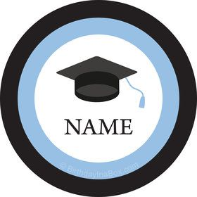 Graduation Day Light Blue Personalized Mini Stickers (Sheet of 24)