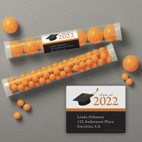 Graduation Day Orange Personalized Candy Tubes (12 Count)