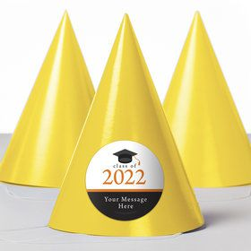 Graduation Day Orange Personalized Party Hats (8 Count)
