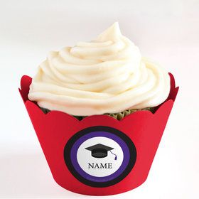Graduation Day Purple Personalized Cupcake Wrappers (Set of 24)