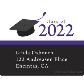 Graduation Day Purple Personalized Rectangular Stickers (Sheet of 15)