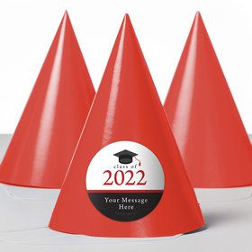 Graduation Day Red Personalized Party Hats (8 Count)