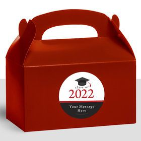 Graduation Day Red Personalized Treat Favor Boxes (12 Count)