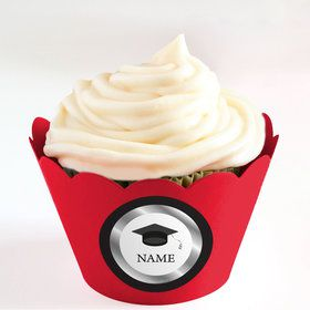 Graduation Day Silver Personalized Cupcake Wrappers (Set of 24)