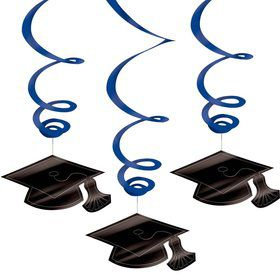 Graduation Foil Swirl Blue Decorations (Each)
