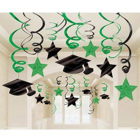 Graduation Foil Swirl Green Decorations (Each)