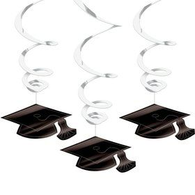 Graduation Foil Swirl White Decorations (Each)