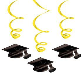 Graduation Foil Swirl Yellow Decorations (Each)