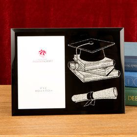 Graduation Glass Glitter 4x6 Picture Frame (Each)