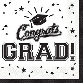 Graduation Lunch Napkins White (36 Count)