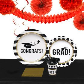 Graduation Party Pack for 40 With Red Decoration Kit